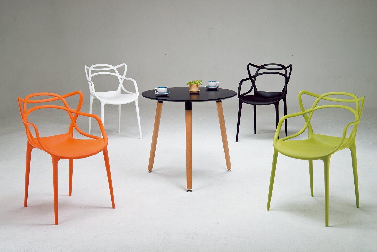 【 IS空間美學】哈根時尚休閒圓桌+伊萊克斯造型風格椅四色可選(1桌4椅)