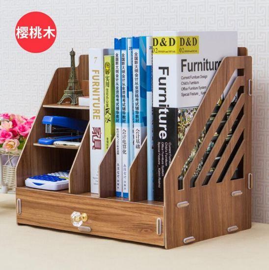 辦公桌面收納盒用品大號多層抽屜文件夾文具室木質儲物書桌置物架