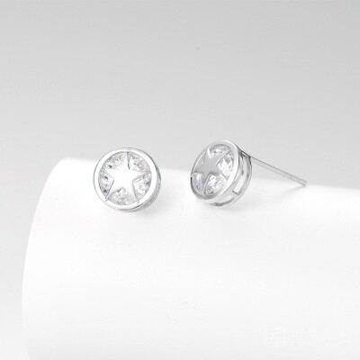 925純銀耳環鑲鑽耳飾-時尚韓版星星造型生日情人節禮物女飾品73hk32【獨家進口】【米蘭精品】