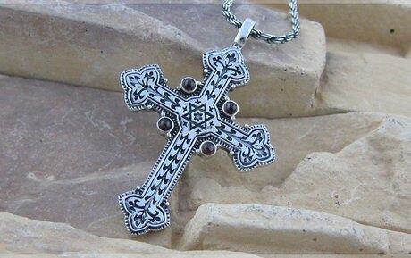 複古泰銀童軍花紋耶穌基督十字架吊墜男士 銀項鏈掛墜