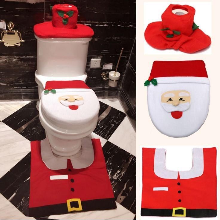 聖誕馬桶套3件套 聖誕爆款 聖誕老人馬桶套 腳墊/水箱蓋/紙巾套 馬桶套