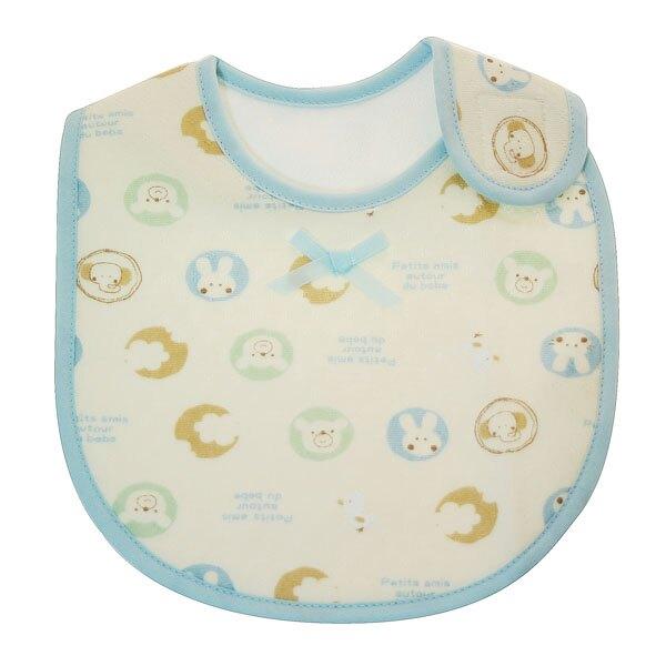 幼兒肩開圍兜-動物 藍色