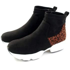 [masyugirl] [マシュガール] 幅広ゆったり・大きいサイズ ストレッチ素材ダッドスニーカーブーツ ブラックヒョウ LL mg5006-BLKHYO-LL