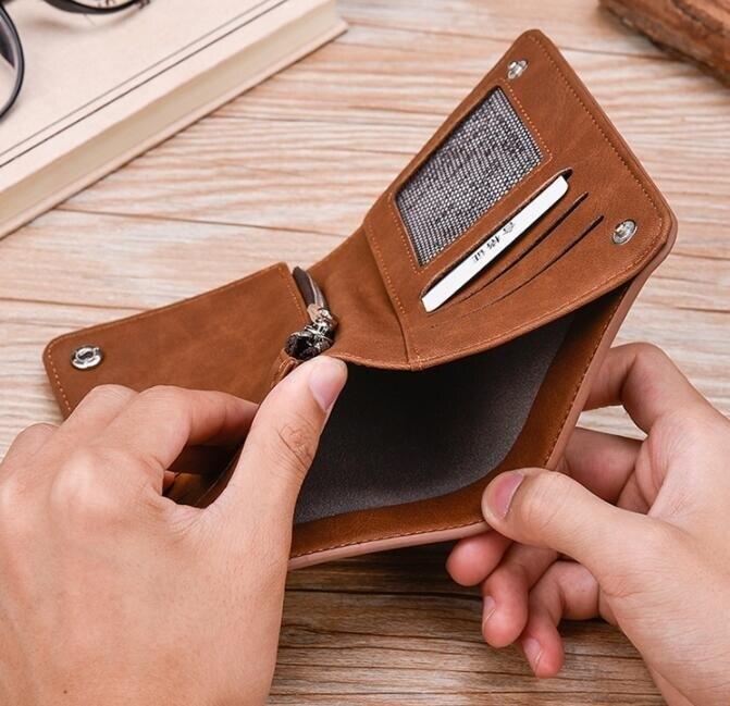 男士拉鏈錢包 復古磨砂皮夾 男士錢包短款 多卡位零錢包 搭扣皮夾 男士短夾 個性零錢包卡包