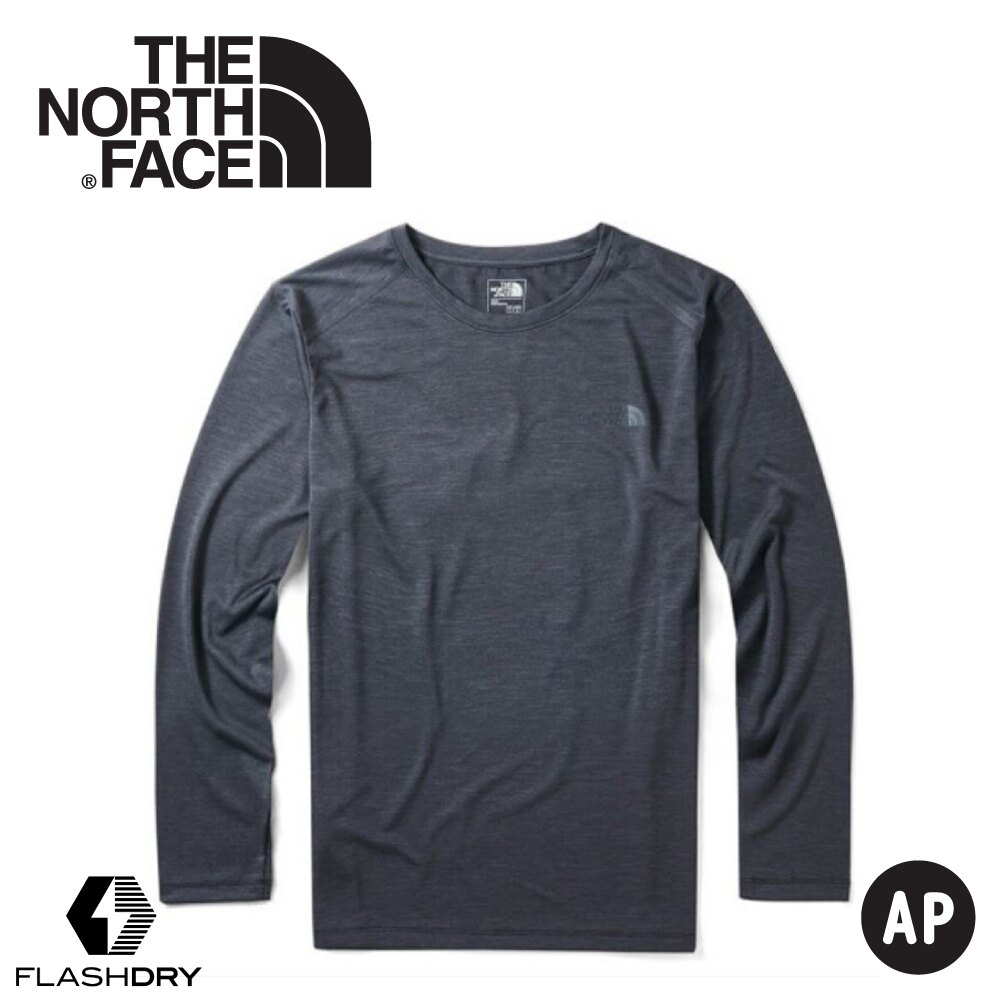 【The North Face 男 FlashDry快乾防曬長T《黑》】3VTB/圓領長袖/防曬長袖/長袖上衣