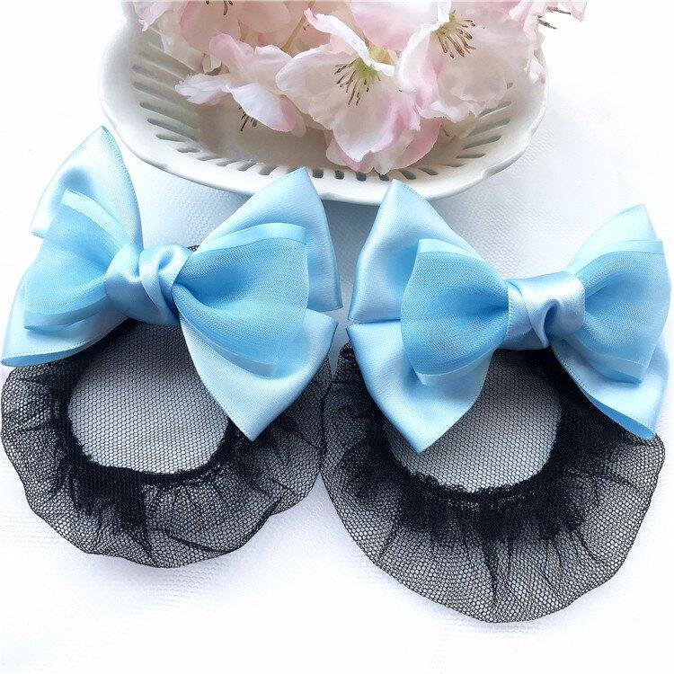 兒童髮網  藍色  蕾絲緞帶蝴蝶結髮網AE0008   ( 一對)    盤髮/丸子頭/髮夾/宴會/同樂會/王子與公主