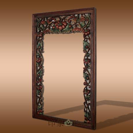 木雕鏡框風格鏡框木雕花浴室鏡框壁掛化妝鏡玄關鏡