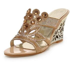 [Bopoli] レディーズ ブーツ レディース Crystal サンダル Slides Sandal Outside Footwear in Blue or Gold with Rubber ハイヒール Peep Toe