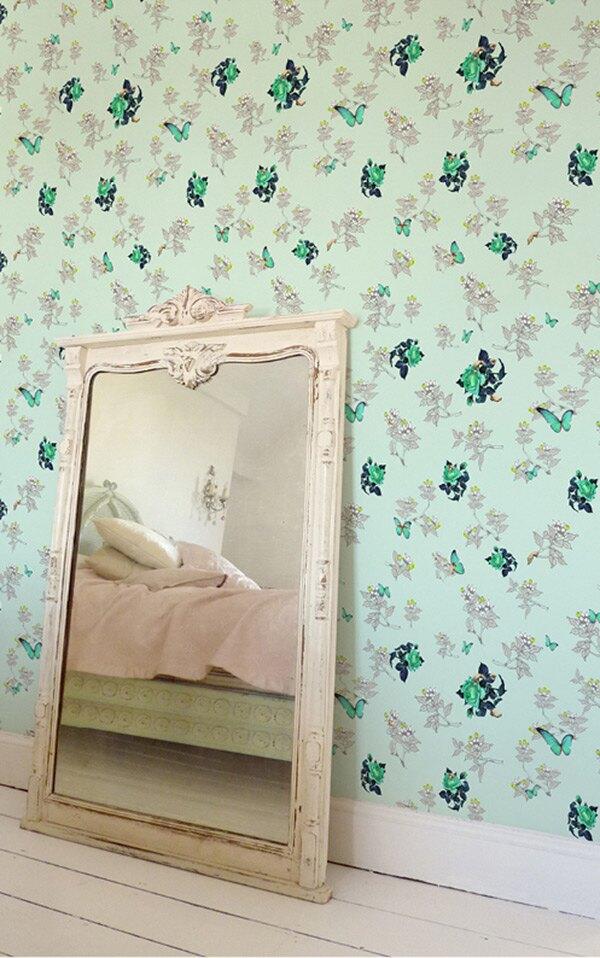 Elli Popp /  Bouquet and Butterflies / P145-02 壁紙 (訂貨單位52cm10m/卷)
