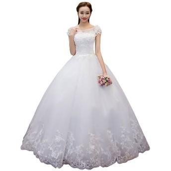ロング スレンダー マーメイドライン レース 立体感あふれる 結婚パーティー ワンピース 結婚式 レディース フォーマル 花嫁二次会 披露宴 写真撮影衣装 ウエディングドレス (XL)