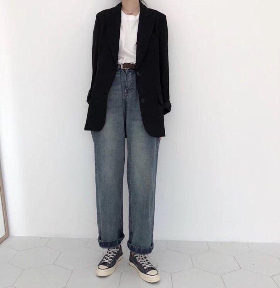 秋裝新款韓版寬鬆復古高腰直筒闊腿牛仔褲女港風顯瘦休閒學生長褲