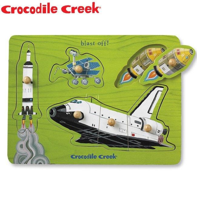 《美國Crocodile Creek》寶寶木製拼圖(太空世界)