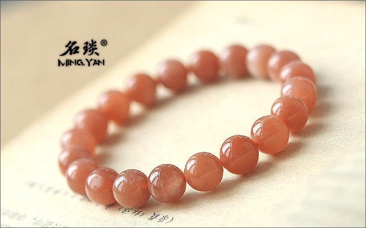 10MM寶石級 紅色太陽石手鏈 稀有珍品