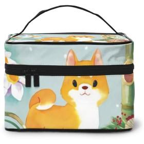 メイクポーチ 化粧ポーチ コスメバッグ バニティケース トラベルポーチ 柴犬 ラッパスイセン 雑貨 小物入れ 出張用 超軽量 機能的 大容量 収納ボックス