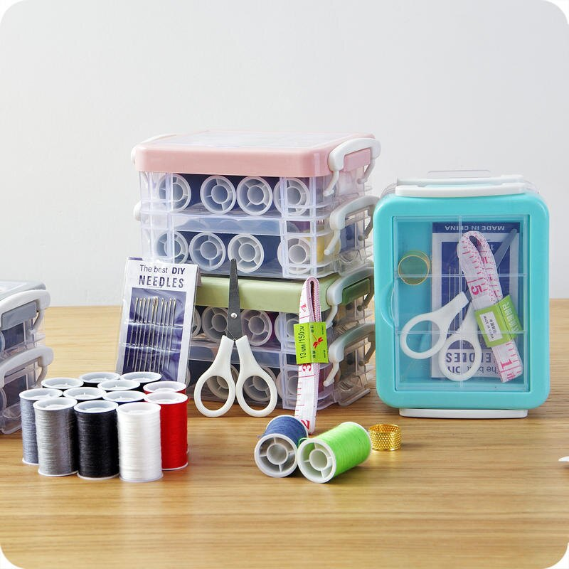 便攜手提針線盒套裝 家用大號縫衣針線包收納盒 縫補針線工具盒子1入