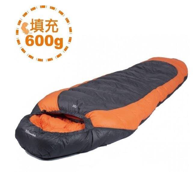 100MOUNTAIN 羽絨睡袋 600G 橘/灰 買就送輕量防水壓縮袋