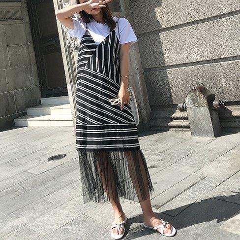 FINDSENSE H1 2018 夏季 新款 清新氣質 條紋拼接 下擺網紗 吊帶連衣裙 短袖 兩件套 休閒潮流 女套裝