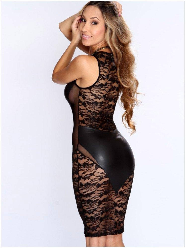 歐美夜店超火辣女裝短裙無袖蕾絲拼接性感迷人包臀連身裙洋裝21643