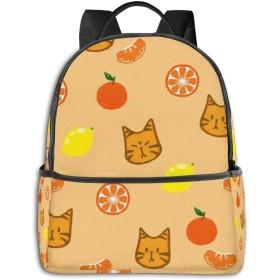 オレンジとかわいいい猫 リュック バックパックリュックサック 大容量 PCバッグ レジャーバッグ 旅行カバン 登山リュック ビジネスリュック ユニセックス おしゃれ 人気