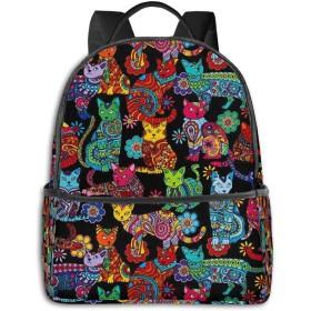 リュック カラーミー猫のぬりえ バックパック ビジネスバッグ PCリュック 防水 大容量 多機能 軽量 遠足 旅行 アウトドア 大学生 中学生 おしゃれ 15.6インチ