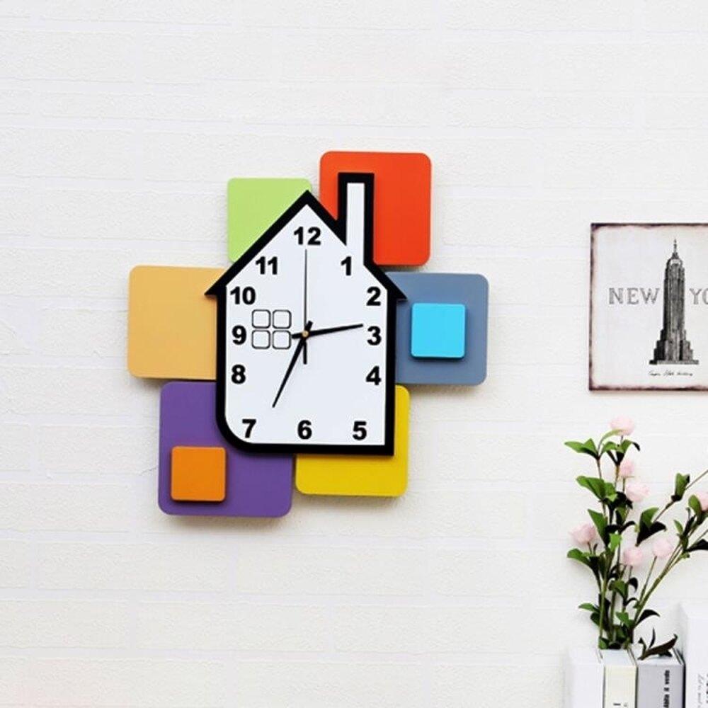 掛鐘 掛鐘時尚創意靜音時鐘兒童房靜音卡通鐘錶現代彩色積木裝飾 mks阿薩布魯