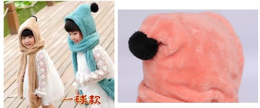 保暖毛絨兒童秋冬天 帽子圍巾手套一體加厚圍巾