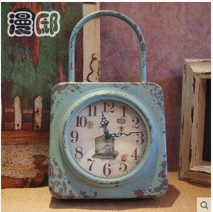 歐式複古鐵藝掛鐘做舊創意無秒針靜音數字鐘表家居裝飾品擺件掛件
