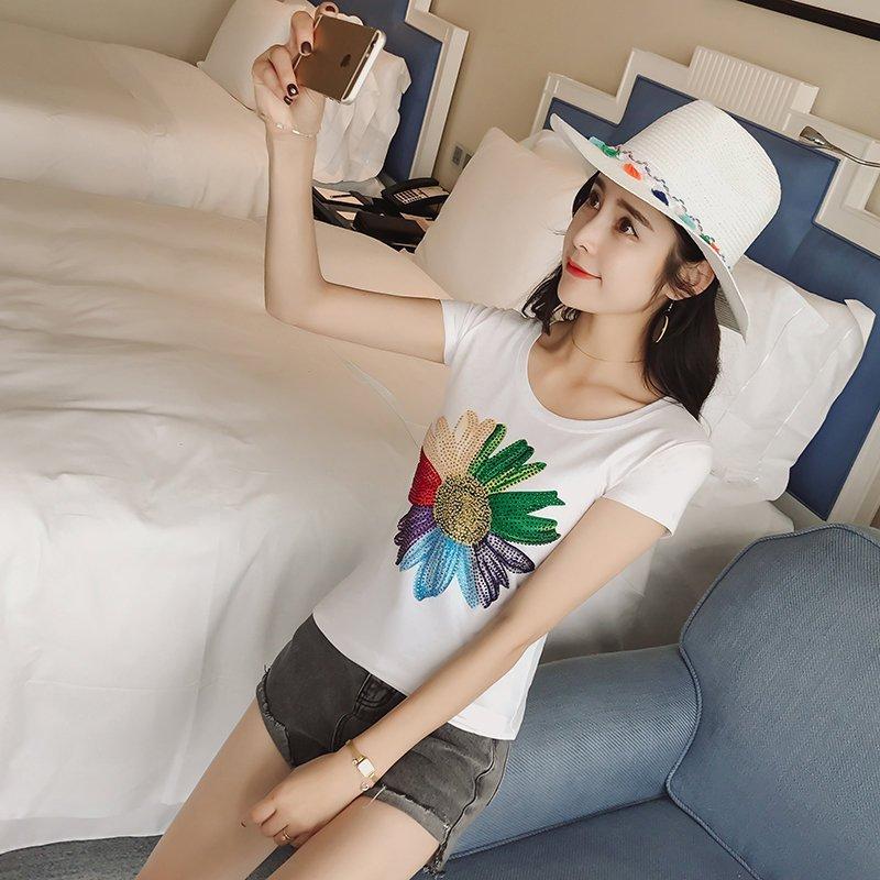 FINDSENSE G5 韓國時尚 印花 鑲鑽 百搭 短袖 T恤 休閒 舒適