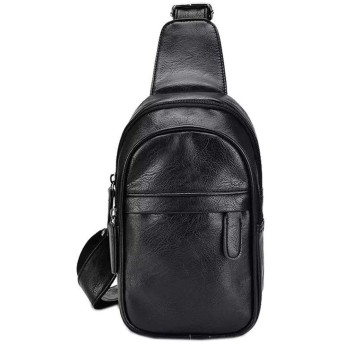 メンズ財布 ウォレット メンズチェストバッグソフトレザーワイルドファッション斜めショルダーバッグワンショルダースリングスモールバックパック レザー財布 (Color : Black, Size : S)