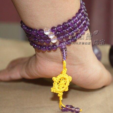 特價高檔紫水晶108顆佛珠手鏈