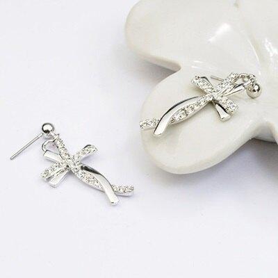 925純銀耳環鑲鑽耳飾-閃耀十字架造型生日情人節禮物女飾品73gs100【獨家進口】【米蘭精品】