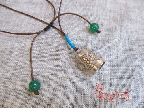 簡單雕刻銀鈴鐺接吻魚項鏈長鏈