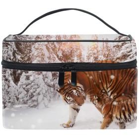 トラ動物カブ冬の雪メイクボックス コスメ収納 トラベルバッグ 化粧 バッグ 高品質