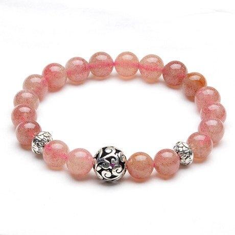 水晶薔薇草莓晶粉色水晶女手鏈佛珠穩感情旺桃花旺夫