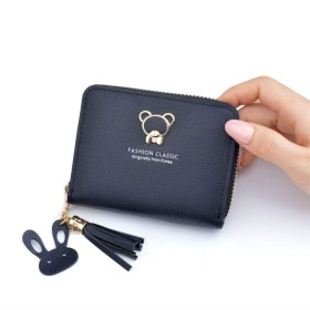 女性テディベア財布のジッパーさんの財布の女性のミニハンドバッグ,黒