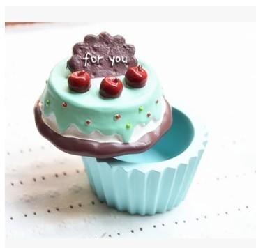 藍綠色奶油杯子蛋糕首飾盒