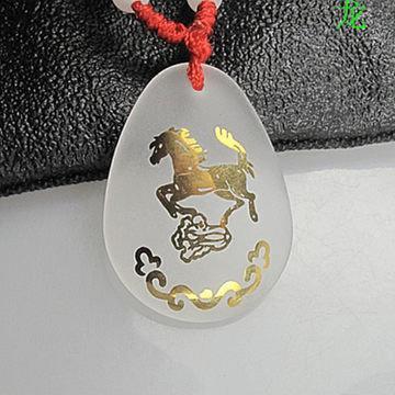開光 磨砂白水晶 龍馬助運項鏈 生肖龍吉祥物