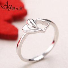 銀戒指女雙心戒指食指思慕戒指銀飾品銀指環女