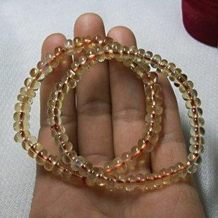 黃晶寶石串珠手鏈 招財黃水晶手飾車輪水晶手串特價