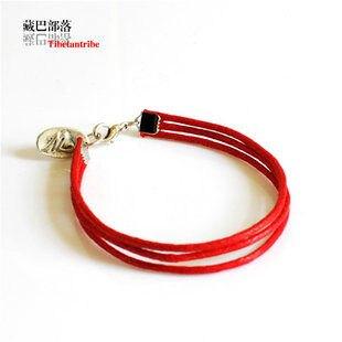 個性紅繩簡約三股油麻手鏈