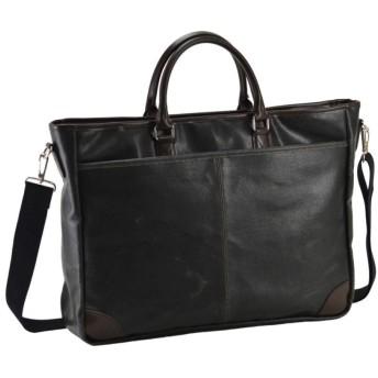 ヴィンテージ【日本製】ビジネスバッグ メンズ B4 A4 2way ショルダー付き ブリーフケース レトロ調 横型【豊岡製鞄】 (黒)