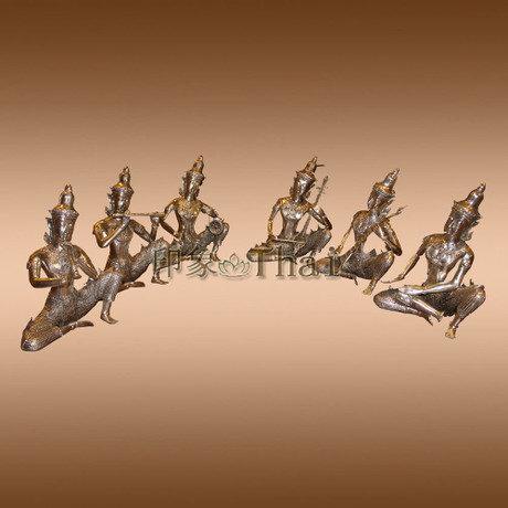 樂器人擺件家居裝飾 裝飾品合金鍍銀佛人物擺