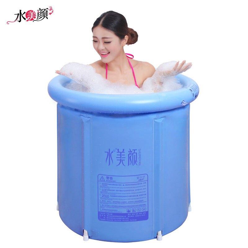 折疊浴桶加厚成人浴盆塑料兒童沐浴桶充氣浴缸泡澡桶雙人XW 尾牙年會禮物