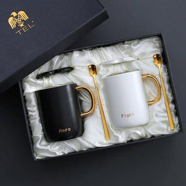 ins北歐早餐牛奶杯子陶瓷馬克杯創意咖啡杯帶蓋勺情侶  聖誕節禮物