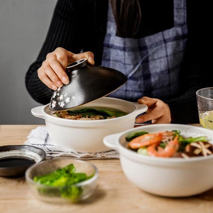櫻花陶瓷砂鍋石鍋帶蓋家用燉鍋米線鍋蒸鍋煮方便面鍋高溫禮盒送禮