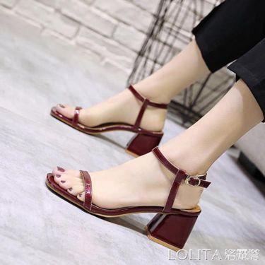 夏季新款網紅涼鞋女人仙女溫柔風時尚百搭配裙子的粗跟中跟潮  聖誕節禮物