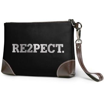 Re2pect. 男女兼用 クラッチバッグ 高級 本革 レザー パーティーバッグ セカンドバッグ 人気 大容量 ファスナー ストラップ付き