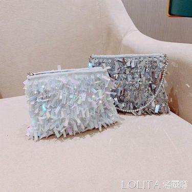 夏天小包包女新款少女珍珠亮片手提斜挎包韓版時尚宴會手拿包  聖誕節禮物