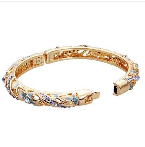 景泰藍手鐲 鍍金鐲子 女寬時尚複古 琺琅鏤空首飾