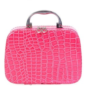スモールミニアリゲーターコスメティックケースビューティーケースコスメティックバッグロック可能なジュエリーボックストラベルトイレタリーオーガナイザースーツケース,赤いバラ